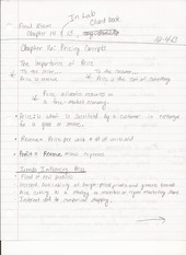 BUS ADM 322 Lecture Notes on Pricing Concepts