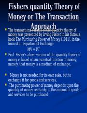 qty theory of money
