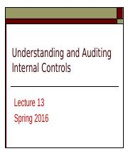 Lecture 12 Auditing Internal Controls updated and final