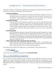 HW2-analysis pdf - Assignment 2 Randomized Optimization This