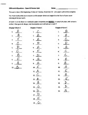 Exam 3 Review Quiz Key