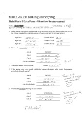 MINE 2514 Field Worksheet 5