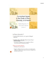 Conceptual Issues in the Study of Race, Ethnicity, and Health Notes