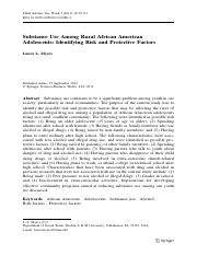 Substance Use Among A.A. Adolescents