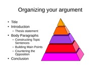Organizing your argumentative essay