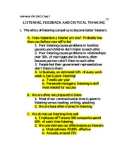 LISTENING, FEEDBACK AND CRITICAL THINKING