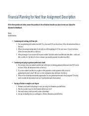 Financial Planning for Next Year Assignment Description.docx