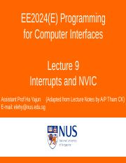 EE2024(E) Lecture 9 Interrupt NVIC