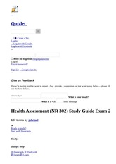 Health Assessment (NR 302) Study Guide Exam 2 flashcards _ Quizlet