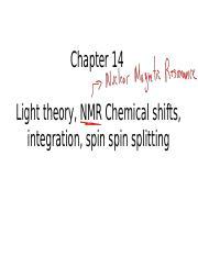 NMR Spectroscopy light theory chemical shift integration for proton