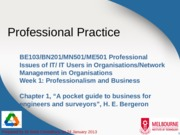 Lecture 1 - Professionalism and organisations
