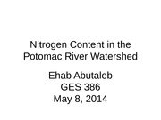 Nitrogen Content in the Potomac River Watershed