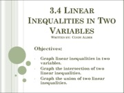 3.4 Linear Inequalities in Two Variables