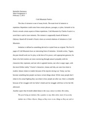 Essay on cold mountain