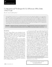 Computational Thinking in K–12- A Review of the State of the Field