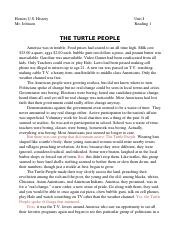 Unit I; Reading 1 - 'The Turtle People' 13.doc