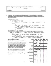 Exam 2 Spring 2014 on Introduction to Digital Logic and Computer Design