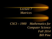 Lecture 7 - Matrices