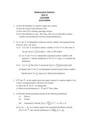 Mathematical Statistics Quiz#2--2008