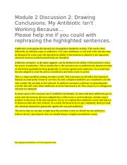 Module 2 Discussion 2 why antibiotic is not working.docx
