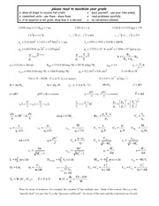 Exam 3 equation sheet 2009c