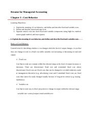 Resume for Managerial Accounting ch 3 by dea.docx
