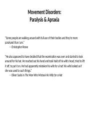 Movement Disorders- Paresis & Apraxia (1)