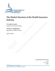 Health Insurance Industry Market Structure - Congressional Research Service (2010)