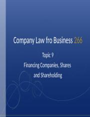 Topic 9 - Financing Companies Shares  Shareholding