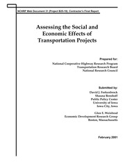 NCHRP _2001_ Guidebook for Assessing Social and Economic Effects of Transportation Projects _Report