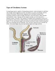 Types of Circulatory Systems