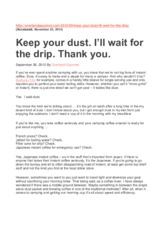 C. Keep your dust -  I ll wait for the drip -Thank you