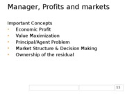 1 Manager, Profits and markets