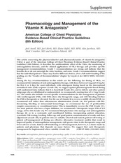 Pharmacology and Management of the Vitamin K Antagonists