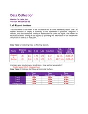 Physics lab-Data Collection - correction