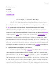 The Color Purple Essay:Revision Paper