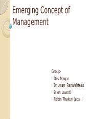 Emerging concept of Management
