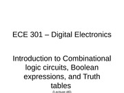 Lecture #6 - Introduction to Combinational logic circuits, Boolean expressions, Truth tables