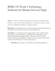 BSHS 352 Week 4 Technology Solutions for Human Services Paper