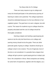 Essay on Kids Going To College
