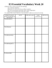 E3 Essential Vocabulary Week 20 worksheet