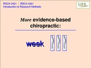 RSCH 2501 Week 3 Lecture Slides - More Evidence-Based Chiropractic