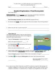 Student Exploration- Pond Ecosystem (ANSWER KEY).docx ...