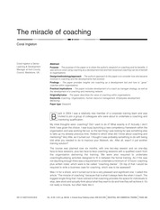 The miracle of coaching