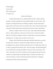Persuasive Essay Topics For High School  Pages Psyc Sensation And Perception Essay How To Write An Essay High School also Process Essay Thesis Essay  Sensation And Perception  Topic Experiencing Our World  Health Essay Sample