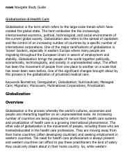 Globalization & Health Care Research Paper Starter - eNotes