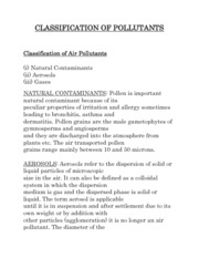 CLASSIFICATION OF POLLUTANTS