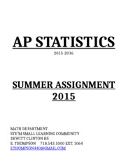 AP Stats Summer Assignment  2015