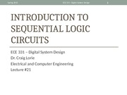 Lecture 21 - Introduction to and Analysis of Sequential Logic Circuits