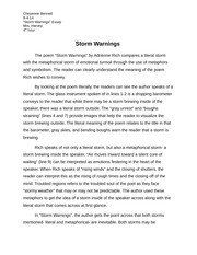 storm warning poem essay